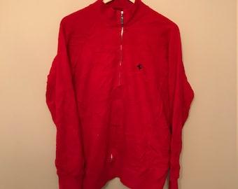 Vintage FERRARI - RED ZIp Up Sweater - XL