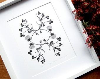 White Clover Letterpress Print