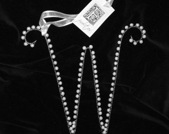 W  Pearl Letter Alphabet Ornament Monogram Initial (All Letters Available)