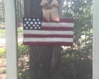 Tin American Flag door hanger