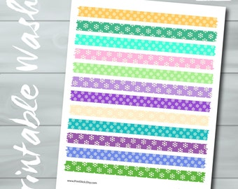 Printable Washi Tape - JPG Sheet - Floral Washi - Perfect for Erin Condren, Happy Planner, other Planners and Scrapbooking