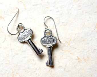 Vintage Steel Key Earrings - Presto Keys
