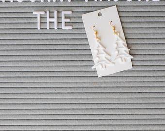 Christmas Tree Earrings, Christmas, Tree, Holiday, Earrings, Festive, 3D Printed, custom, designed