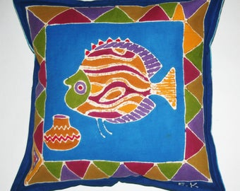 African Batik Pillow Abstract Fish Tribal Designs, Zimbabwe Sadza Batik, Decorative Batik Pillow Fair Trade Free Shipping U.S.