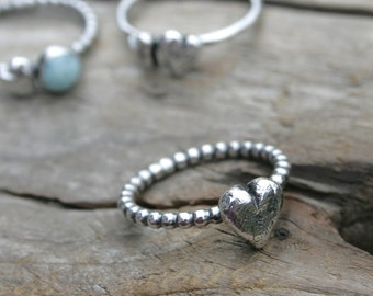 Big Rustic Heart Stacking Ring in Fine and Sterling Silver Ball Bead Wire. Made To Order In Your Size. Weathered Heart.