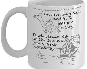 Fishing mug fish fly fishing coffee mug funny coffee mug fisherman gift ceramic mug gift for him birthday gift betta fish funny mug