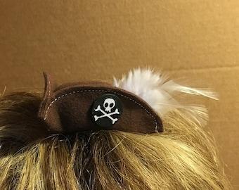 Mini Pirate Hat - Brown - Mini buccaneer hat