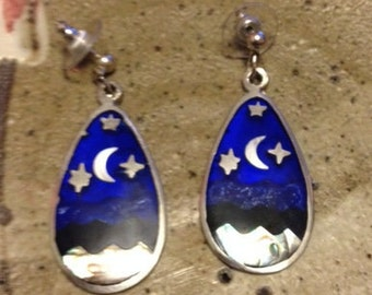 Enamel earrings with mother of pearl, moon and stars
