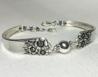 Sunflower Spoon Bracelet, Sterling Silver Beads, Silverware Bracelet, 'April' 1950