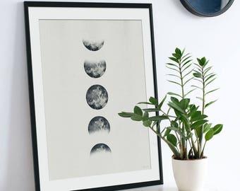 Moon Print. Moon Picture. Moon Art. Lunar Art. Lunar Painting. Monochrome. Boho Art. Inverted Moon. Eclipse. Green Lili