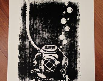 Woodblock Print - Diver