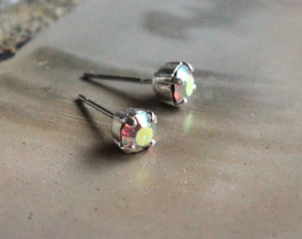 Tiny Swarovksi Crystal Stud Earrings in AB-- Choose Gold or SIlver Finish