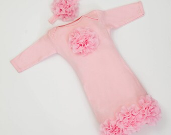 Infant Layette Pink Baby Gown with Pink Chiffon Flowers