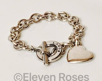 Lagos Caviar Heart Charm Toggle Chain Bracelet 925 Sterling Silver Free US Shipping