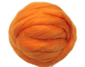 Merino / Silk Roving, Color: Melon - Beautiful warm Tone Mulberry Wool Silk Blend Fiber for Spinning & Felting