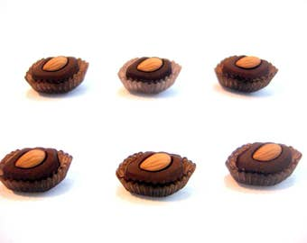 Chocolate Almond Candy Buttons Easter Jesse James Buttons Candy Box Decadence Dress It Up Buttons Set of 6 Shank Back Easter Candy - 242 C