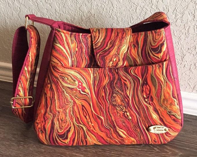 Featured listing image: Handbag, Cork Handbag, Shoulder Bag, Purse, Tote Bag, Summer Bag in Metallic Abstract Marbling & Cork Leather with Adjustable Shoulder Strap