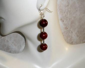 Womens Jewelry Earrings, Girls Fashion Earrings, Long Dangle Earrings, Crimson Red Beaded Earrings, Pierced Earrings, Free Shipping Jewelry