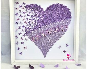 Delightful Paper Butterfly , 3d Butterfly Wall Art, Butterfly Heart, Butterfly Canvas,  Paper Butterfly