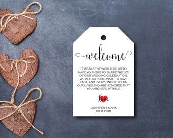 Wedding Welcome Tag, Wedding Favor, Welcome Favor Tag,  Kraft Gift Tag, Editable PDF, DIY, Printable Template, Instant Download E87C