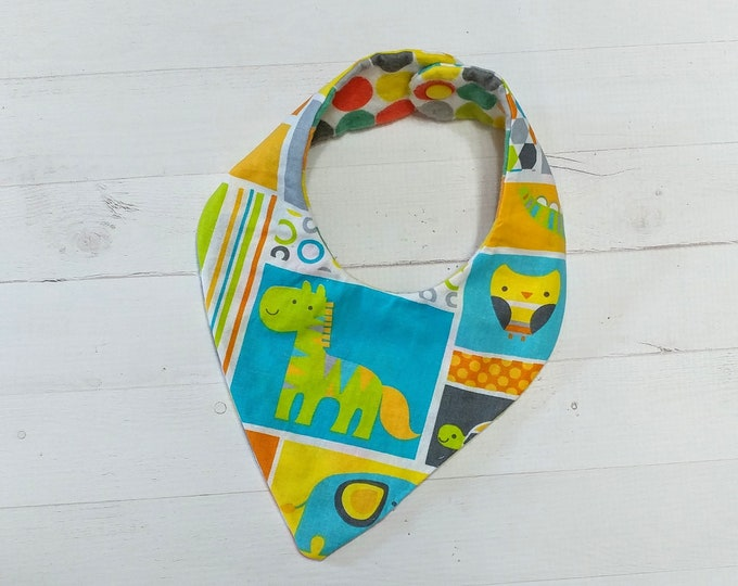 Bandana baby zoo animal theme cloth baby bibs for boys and girls,reversible flannel baby bibs, baby gifts
