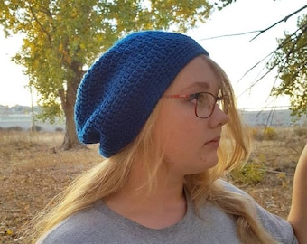Cobalt blue simple crochet slouch beanie