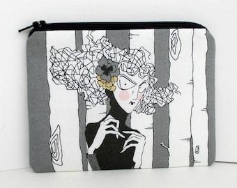 Ghastlie Zipper Pouch, A Ghastlie Woman, Mathilde Stripe, Alexander Henry Fabric, Zippered Bag