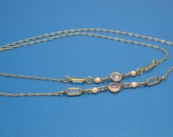 Vintage Long Pink and Blue Crystal Goldtone 30 inch Necklace