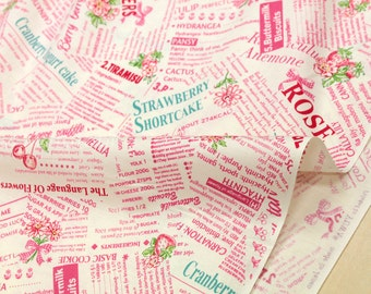 Japanese Fabric Atsuko Matsuyama Sweet Recipe - pink and mint on cream - 50cm