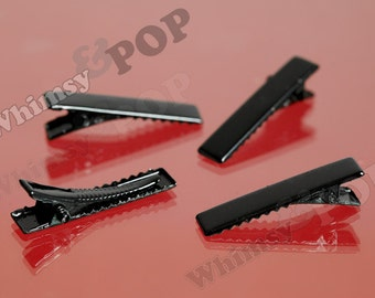 50 - Black Prong Barrettes Hair Alligator Clips, Hair Accessory Blanks, 7mm x 32mm (R5-215,C2-07)