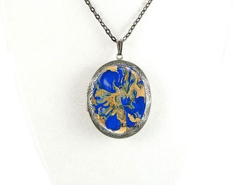 Pill Box Necklace Hand Painted Enamel Cobalt Quartz Inspired Antique Silver Oval Locket Necklace with Color and Personalized Options
