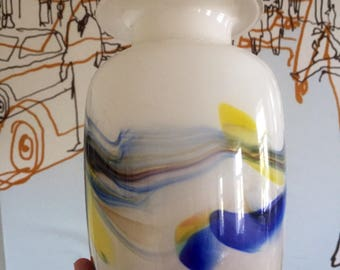 Snowflake glass vase/handblown/midcentury/rainbow /multicolored