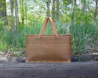 Picnic Basket Vintage Wicker Wood Handles and Top Inside Shelf Insert Mid Century Storage