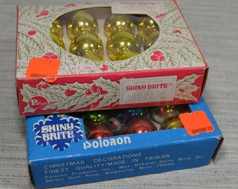 Two Boxes Vintage Mini Glass Christmas Tree Ornaments by Shiny Brite