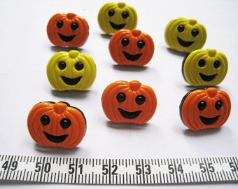 24pcs of Orange and Yellow Pumpkin Button  - 19mm