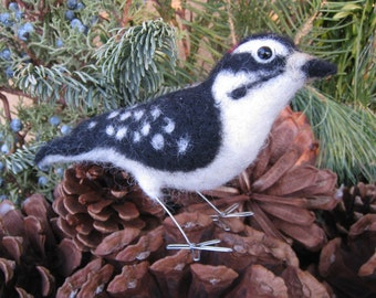 Mr. Downy Woodpecker, needle felted bird fiber sculpture