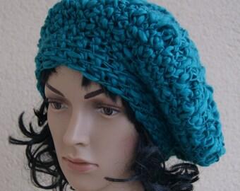 Birthday gift, emerald,turquoise beret Crochet, Winter hat, spring Hat, soft wool, warm beret, fantastic women hat, colorful beret