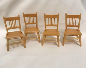 "Dollhouse Miniature  1"" scale set of Four Chairs"