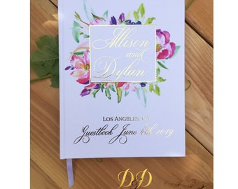 Wedding Guest Book Personalized Gold Foil Guestbook Floral wedding book lined black pages hardcover copper foil guestbook silver foil guest