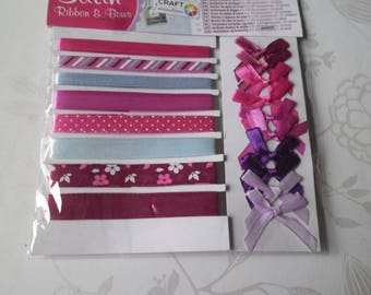 8 times 1 metre of satin ribbon pattern/plain + matching satin plain 10 knots