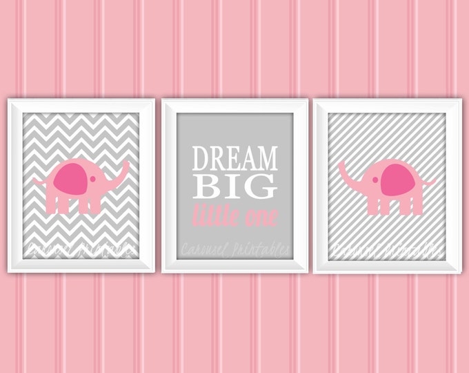Elephant Wall Art Set, Elephant Wall Art, Pink and Gray, Instant Download, Childrens Wall Art, Kids Wall Art, Nursery Wall Art, DIY Wall Art