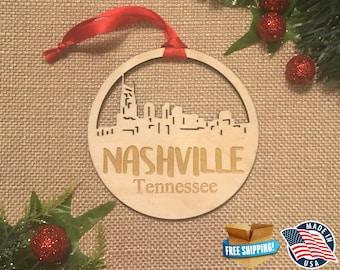 Nashville Tennessee Ornament *** Skyline Christmas Holiday Ornament *** TN