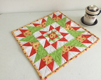 Bright and colorful table topper.