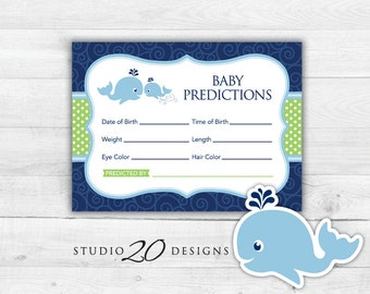 Instant Download Whale Prediction for Baby Cards, Printable Blue Green Whale Predictions, Baby Boy Whale Baby Shower Games 20B