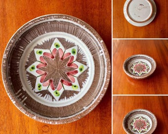 Mid century ceramic bowl from Laholm Sweden, hand painted on one of a kind bowl
