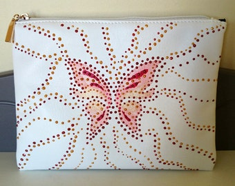 """Pouch white vinyl """"Butterfly"""""""