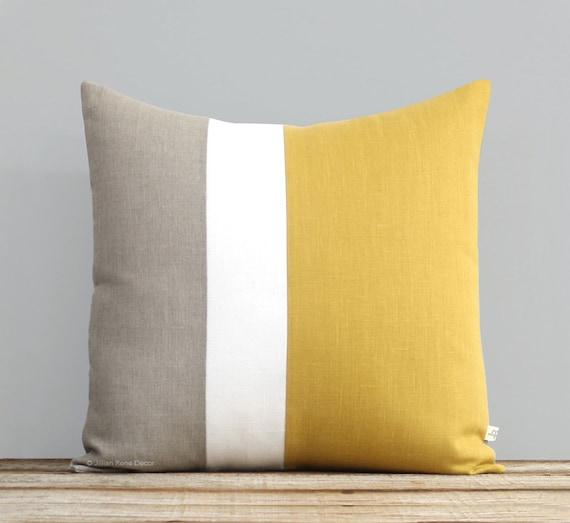 Yellow Color Block Pillow Cover Spring Decorative Pillow