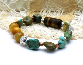 Maan Shan Turquoise  Natural Tiger Eye Boho Luxe Beaded Bracelet, Boutique Wearable Art, Southwestern, US Free Shipping, for Her Under 300