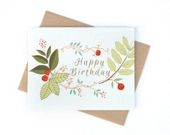 Card, Happy Birthday Card, Hand drawn botanical card, Blank Birthday card, Floral Card, Floral Wreath Card