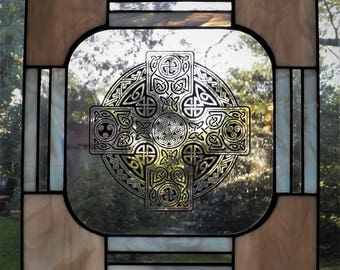Coral and White Stained Glass Celtic Cross